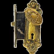 French bronze mortise lock set