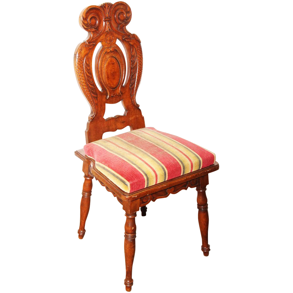 Set of four wooden chairs with striped cloth seat
