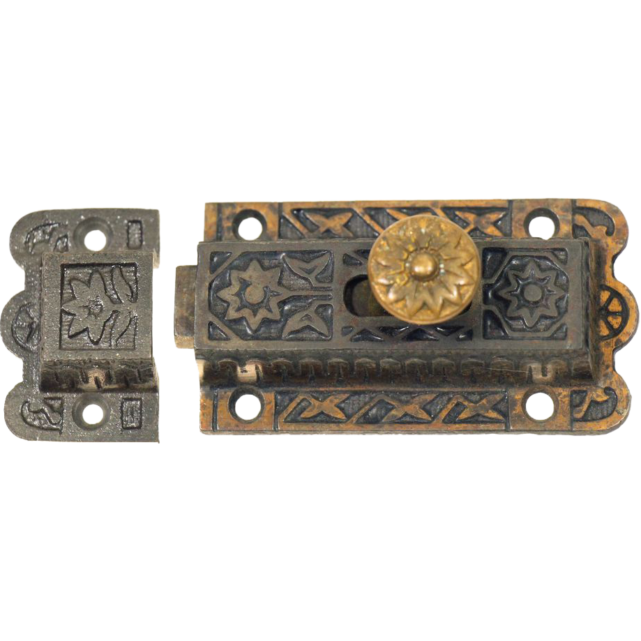 Ornate iron Victorian latch with high profile brass button