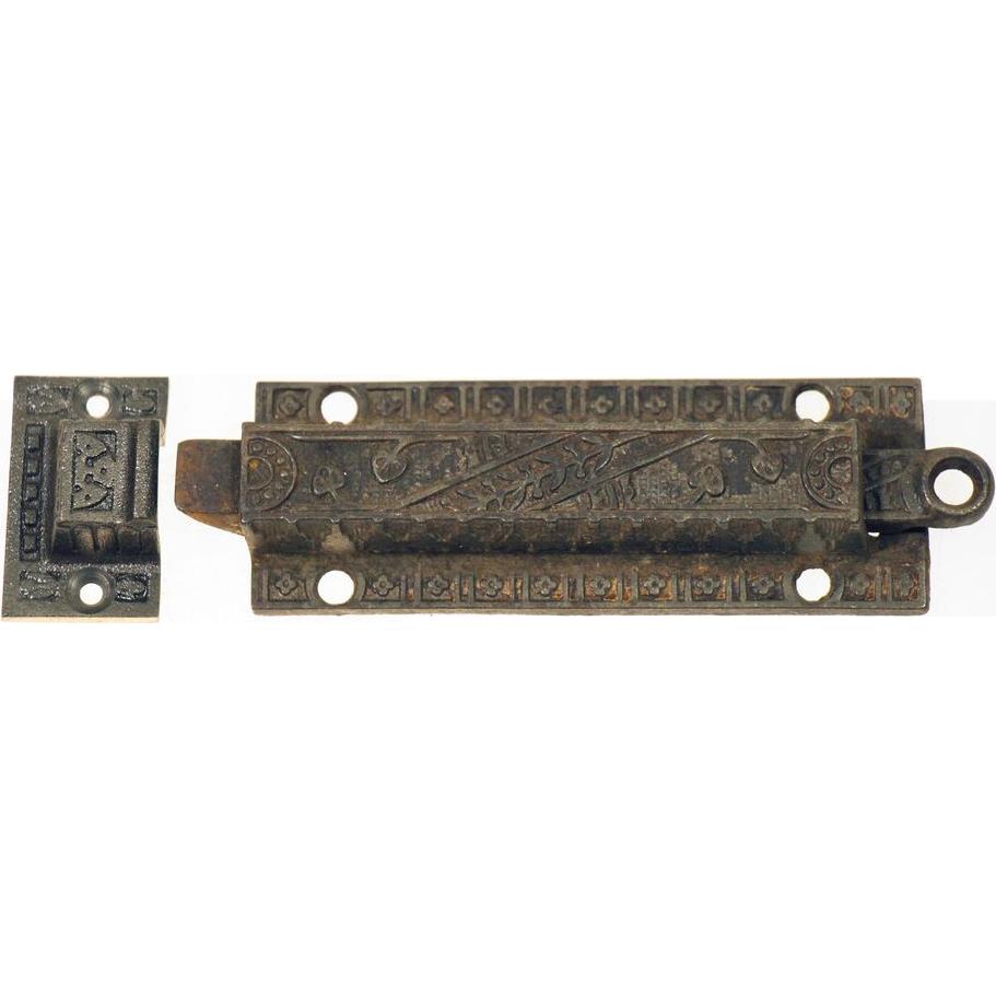 Ornate bronze Victorian bolt latch