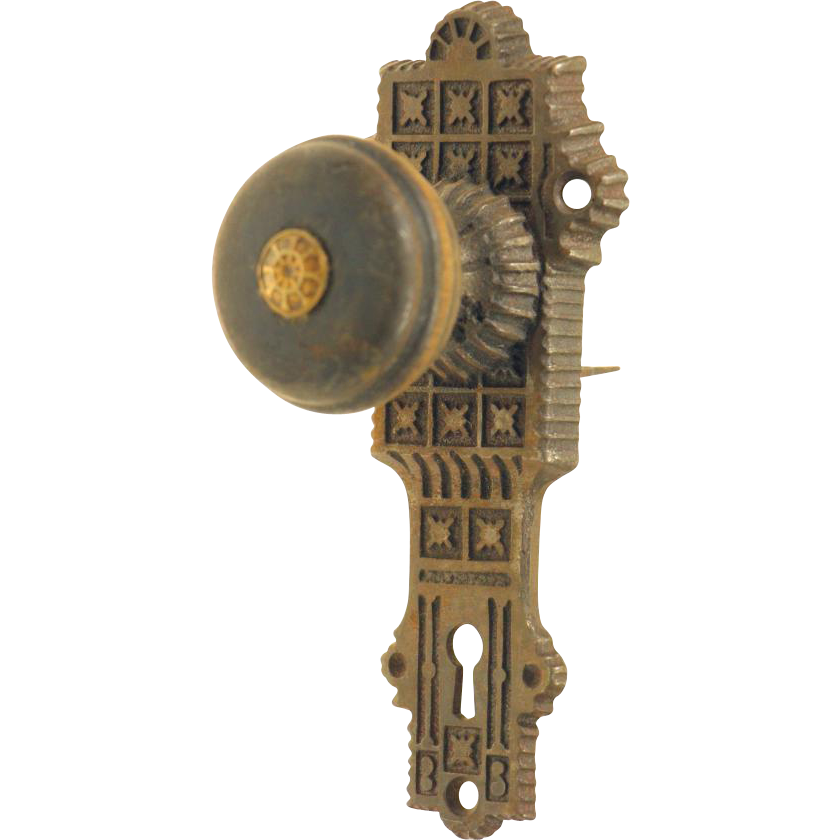 E & C G Co. wooden vernacular doorknob set