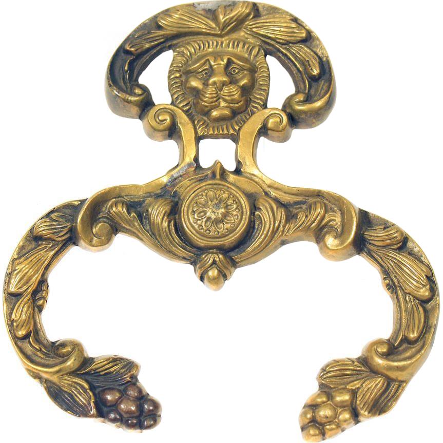 Lion head bronze decorative applique
