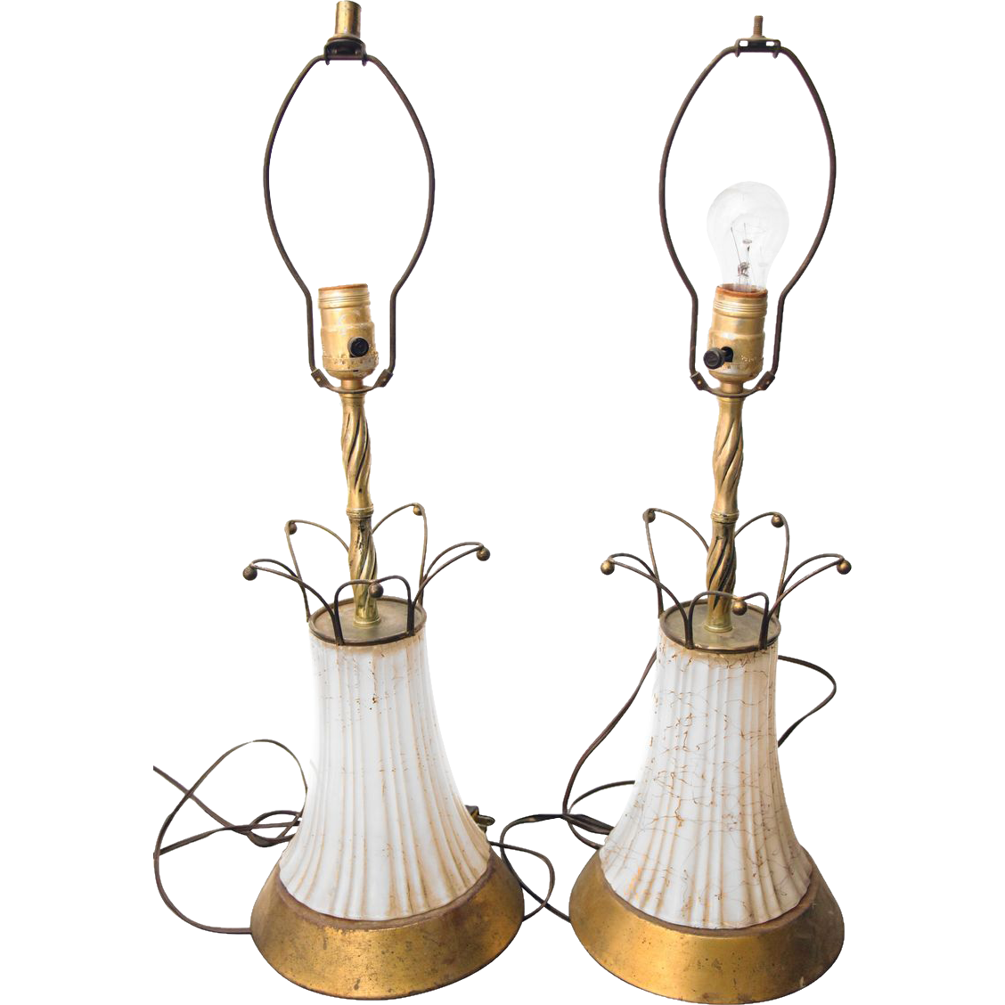 White milk glass and old brass table lamps