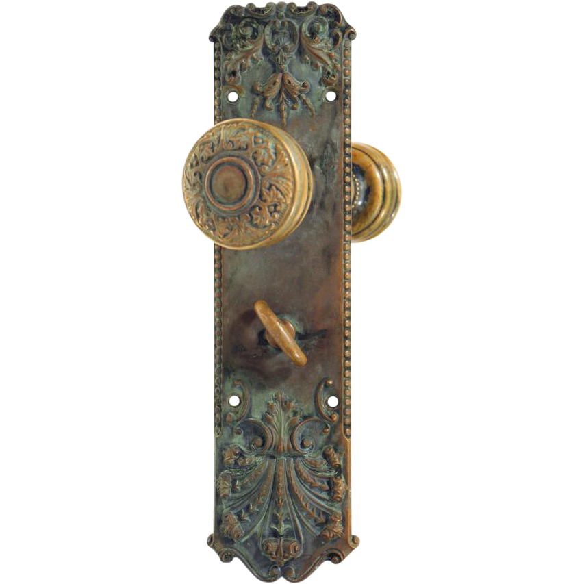 Corbin Jacobean bronze entry knob set