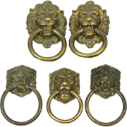 Bronze small lion head pulls set