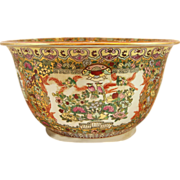 Antique Chinese enamel and porcelain scenic bowl