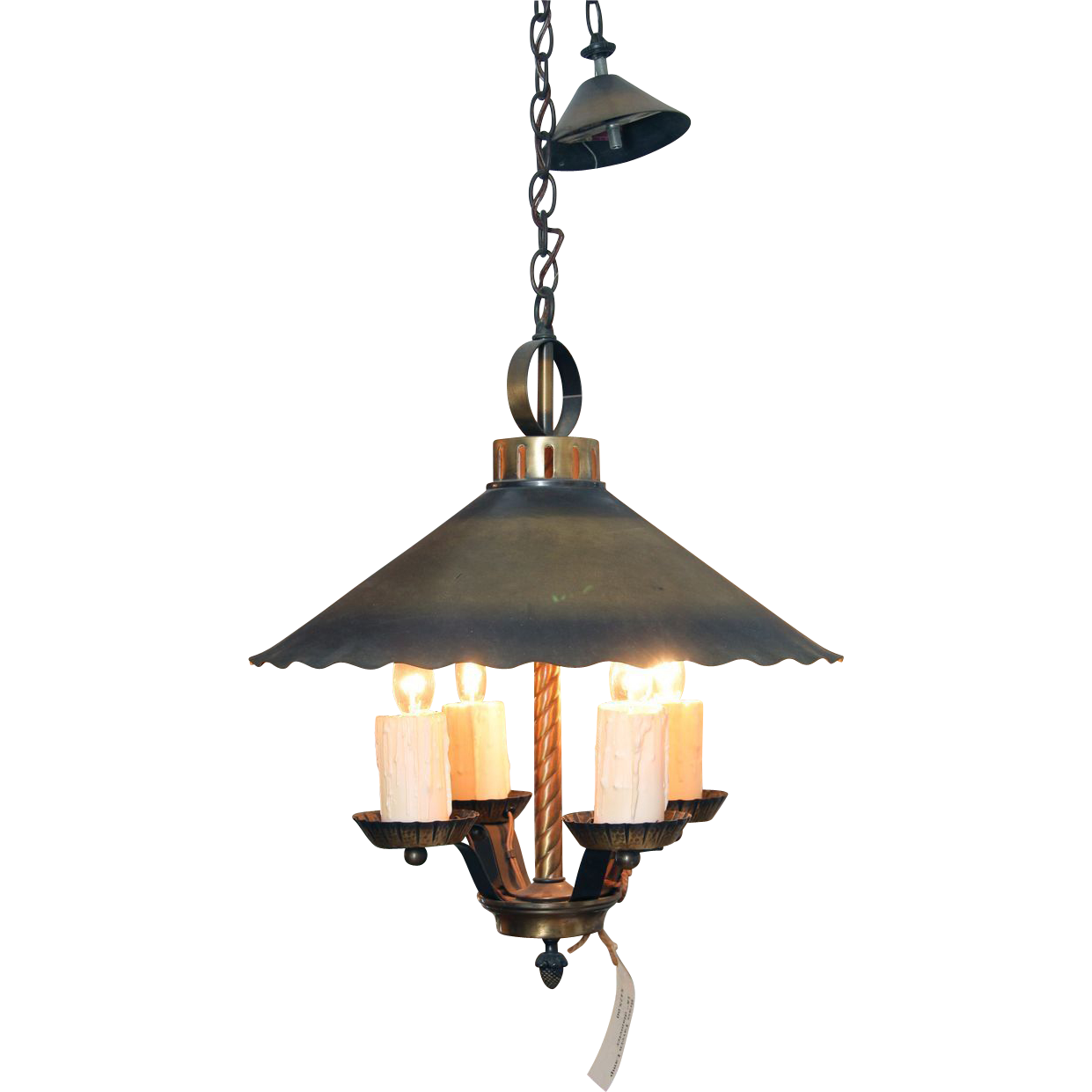 Rustic brass tavern mini chandelier