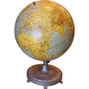 Vintage 1950's globe with cast iron base.