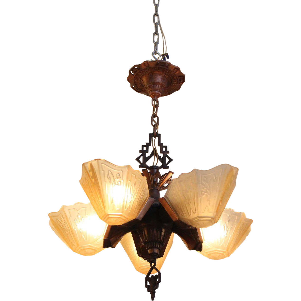 Art Deco five slip shade chandelier