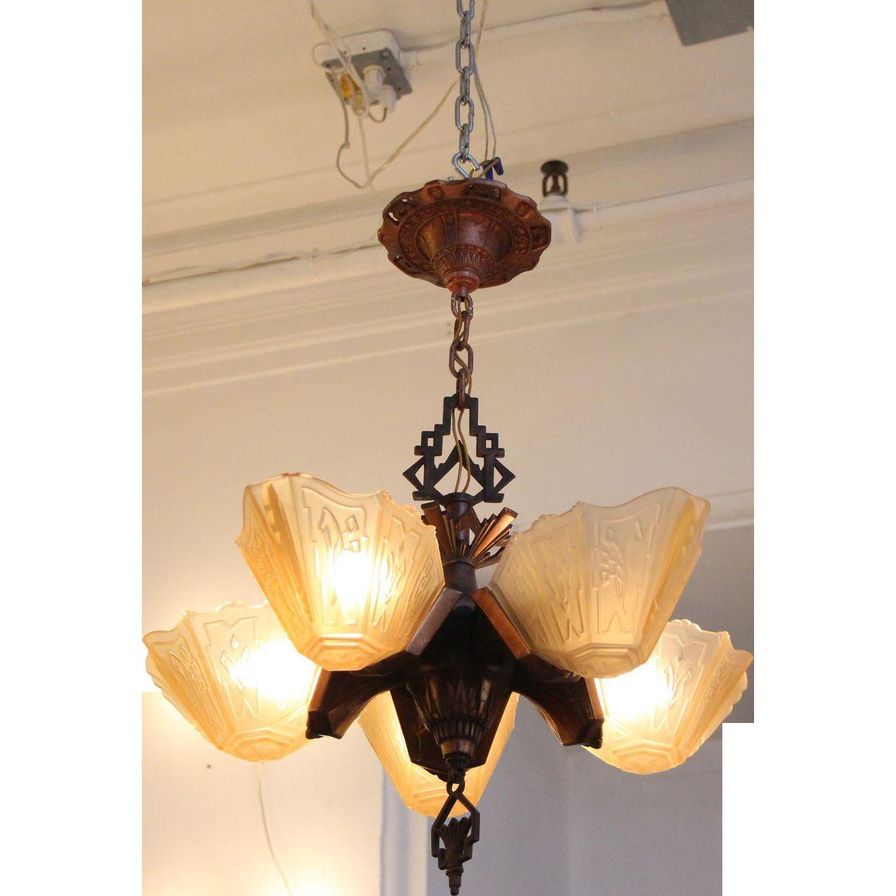 Art Deco five slip shade chandelier