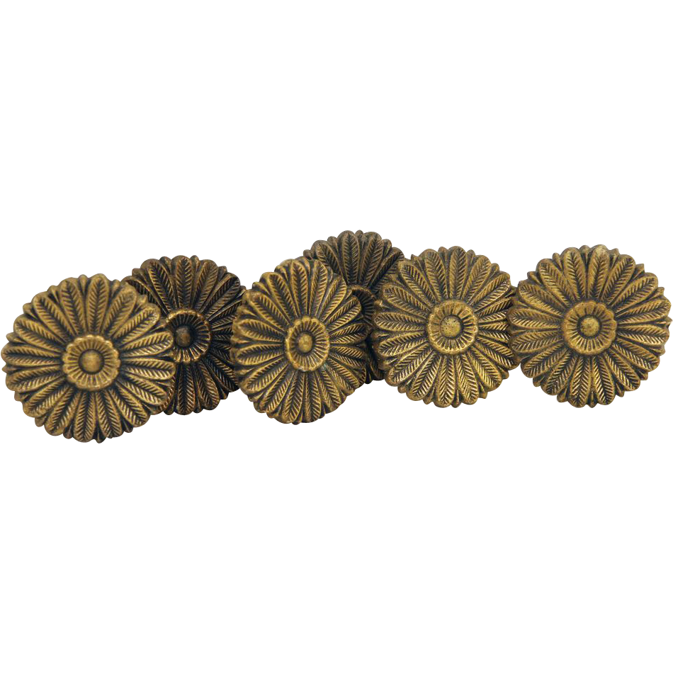 Set of vintage bronze floral curtain tie backs