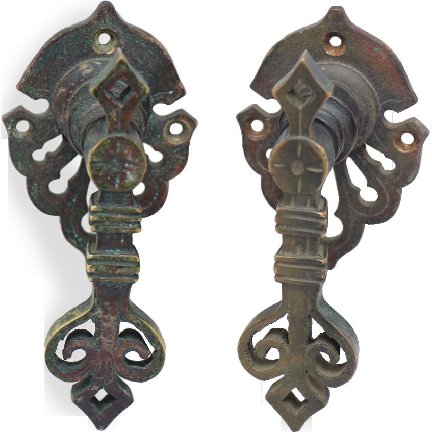 Pair of bronze ornate lever pulls