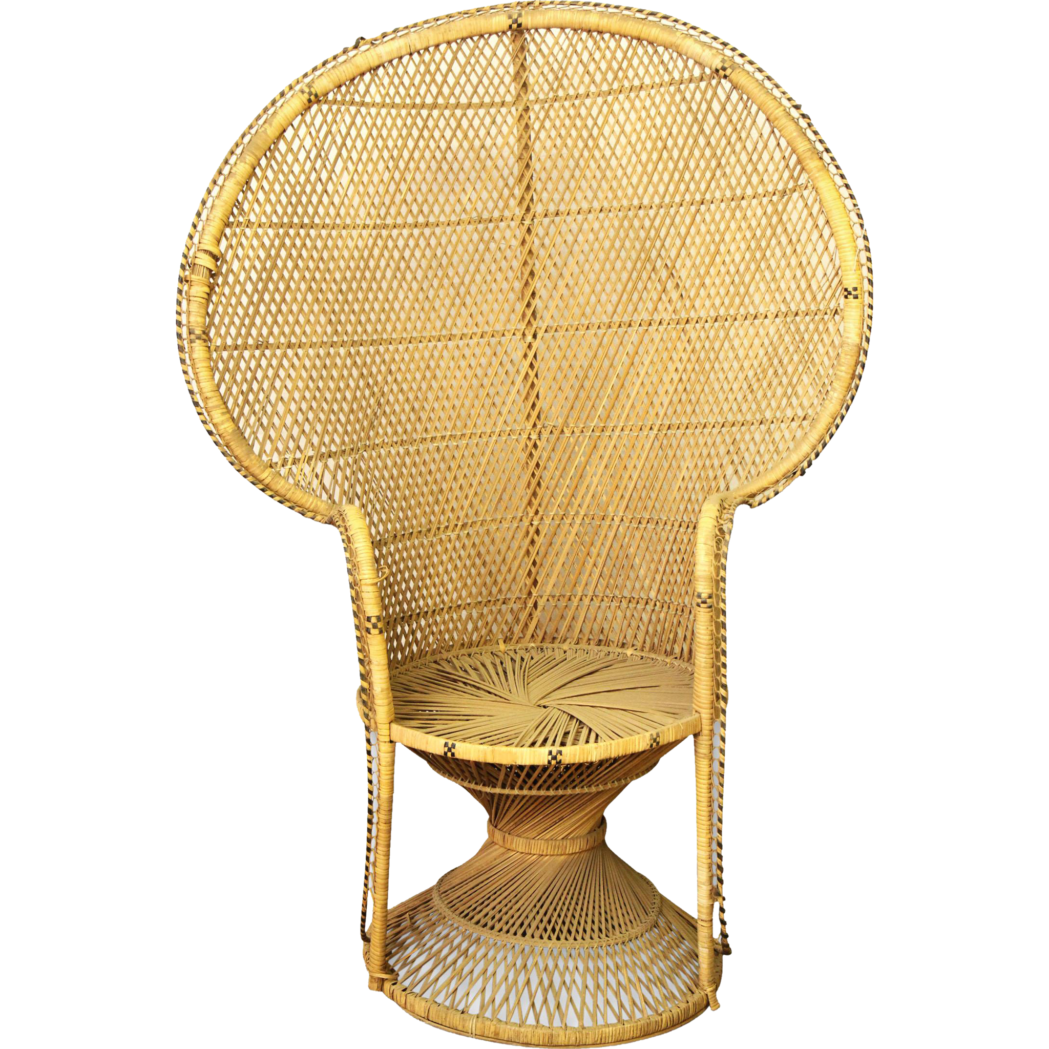 Old wicker fan back chair