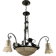 Art Deco wrought iron & cast glass chandelier