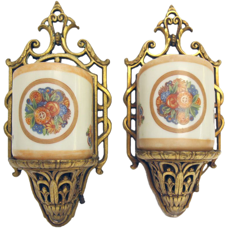 Set of two ornate floral wall sconces