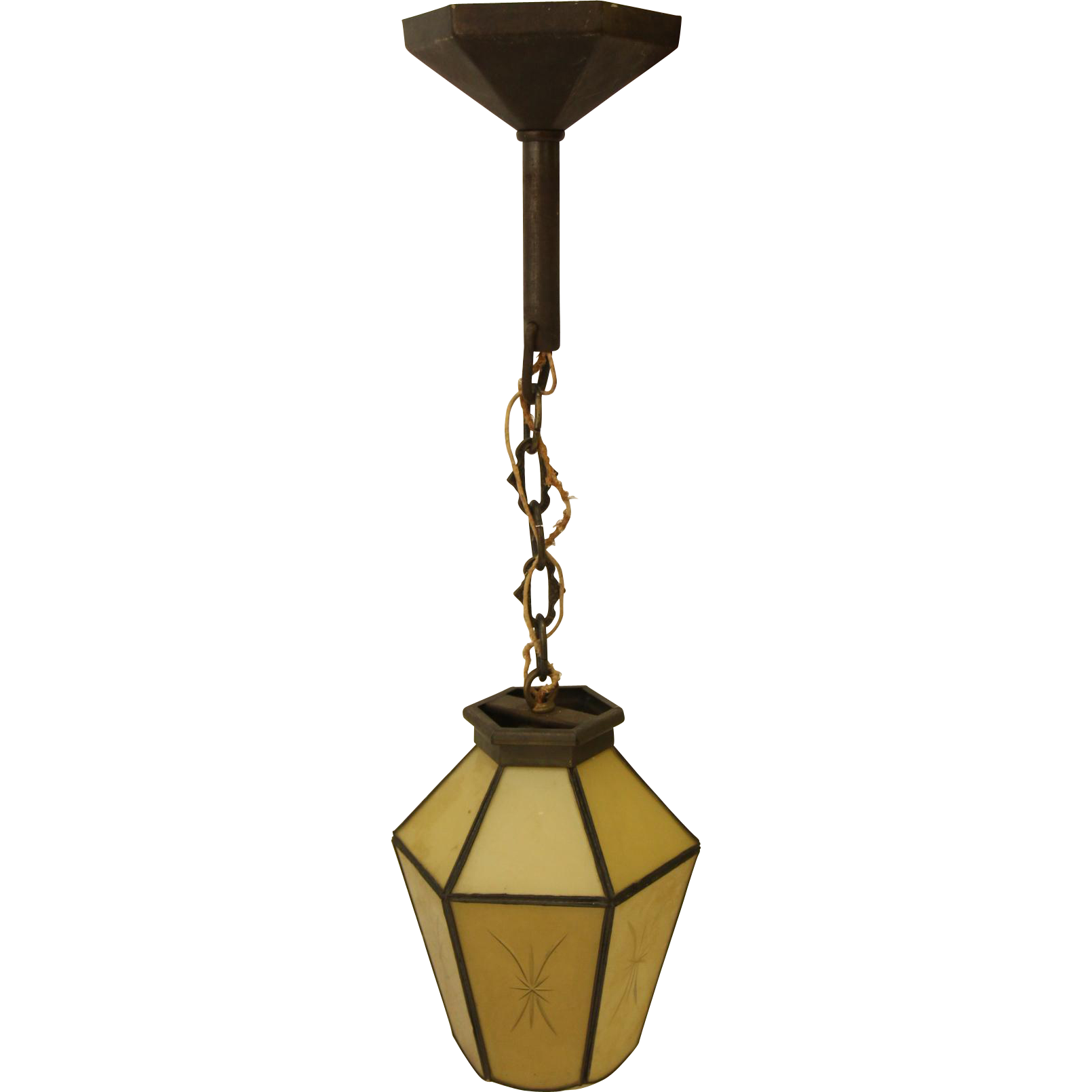 Lantern light with etched glass