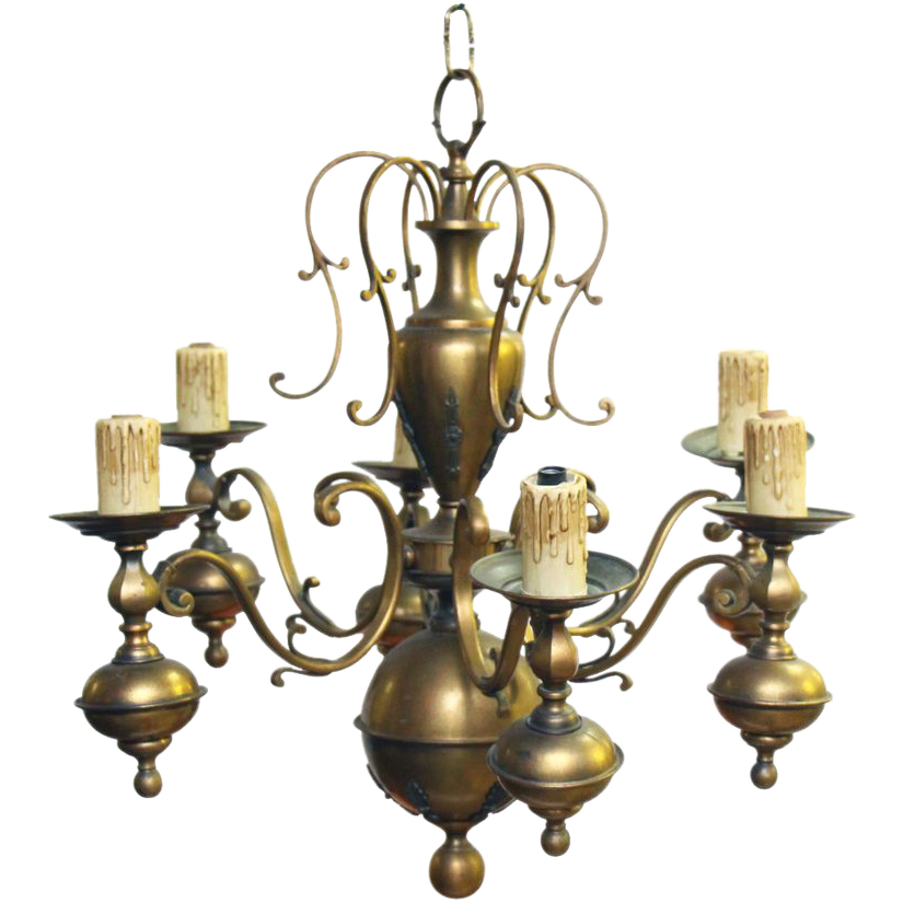 Early 1900's brass six light chandelier