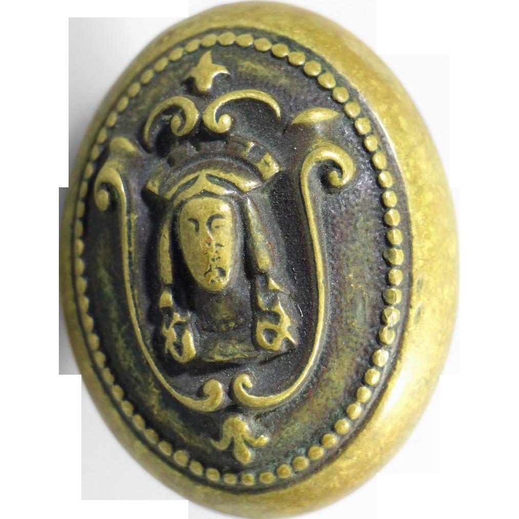 Figural Corbin brass Egyptian oval  knob
