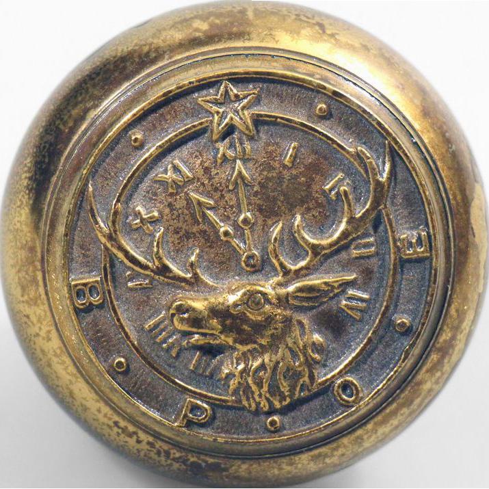 Elk Lodge brass collector's knob