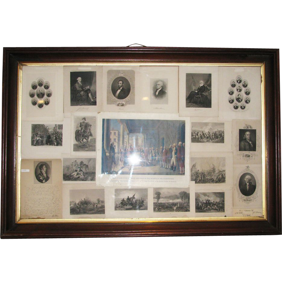 Large framed vintage prints of U.S. Presidents
