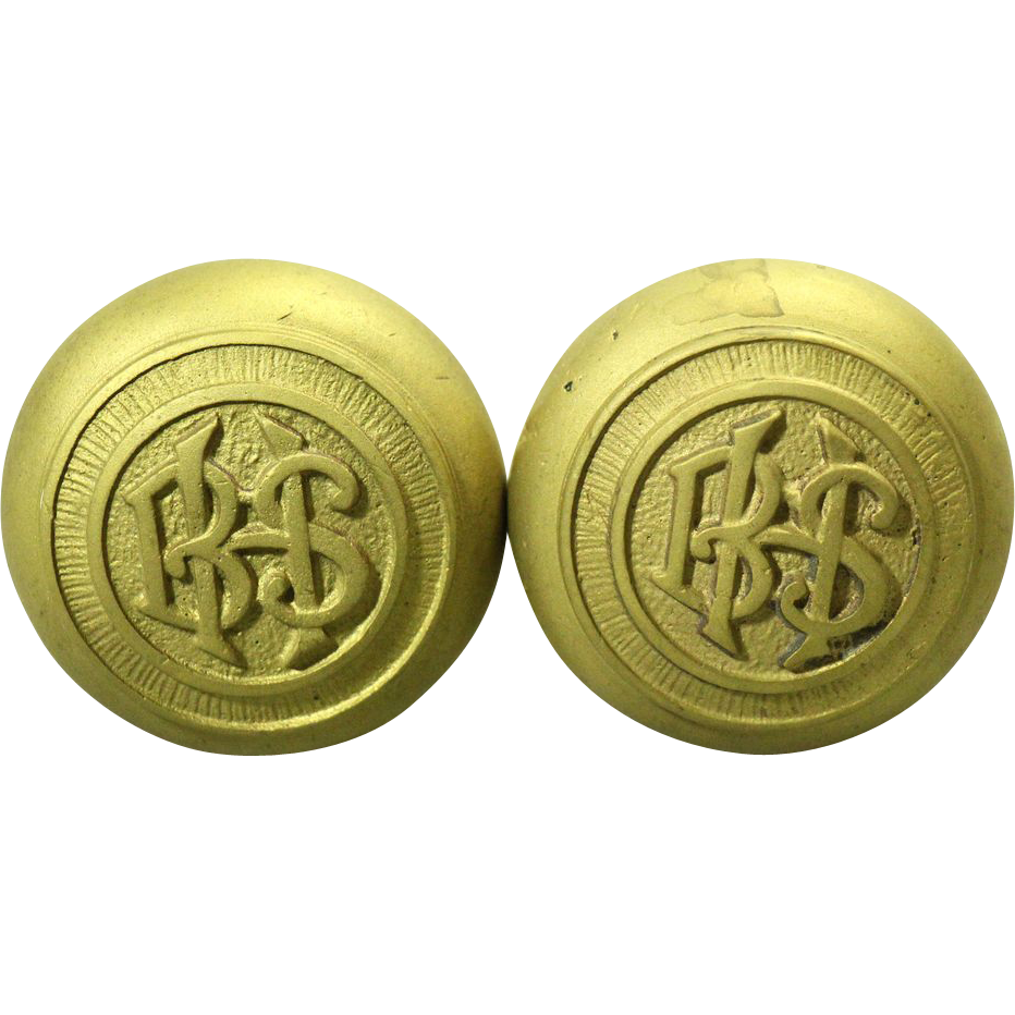 Set of two 'BHS' emblematic brass knobs