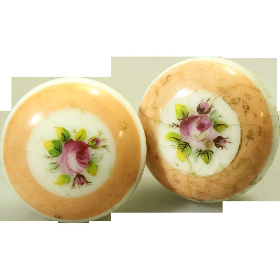 Floral porcelain knob set with peach colors