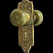 Ornate bronze knob and key hole cover set