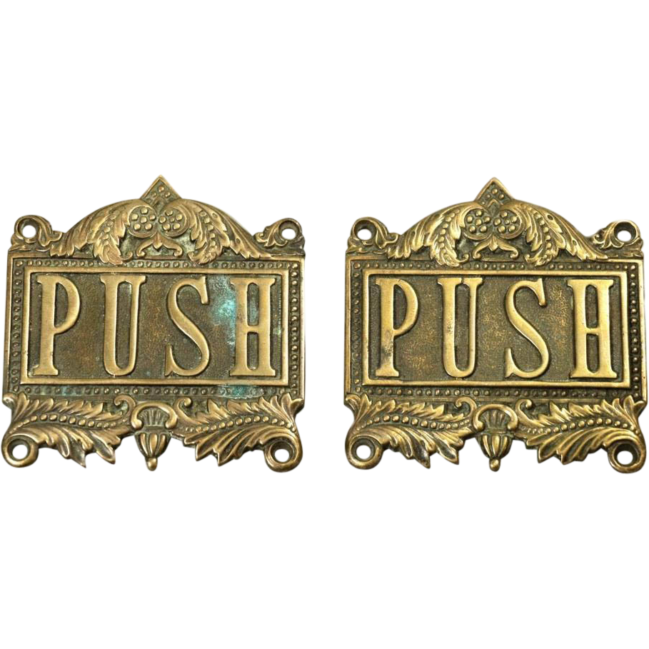Decorative brass push plates