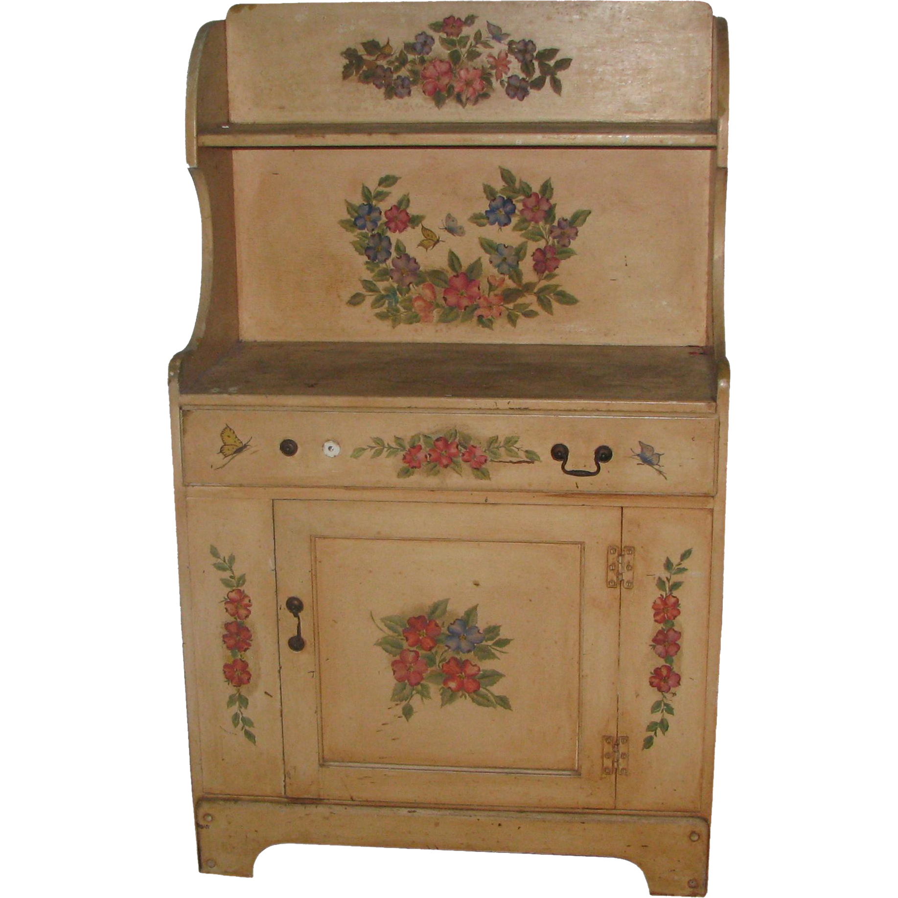 Antique country hutch with hand painted floral detail