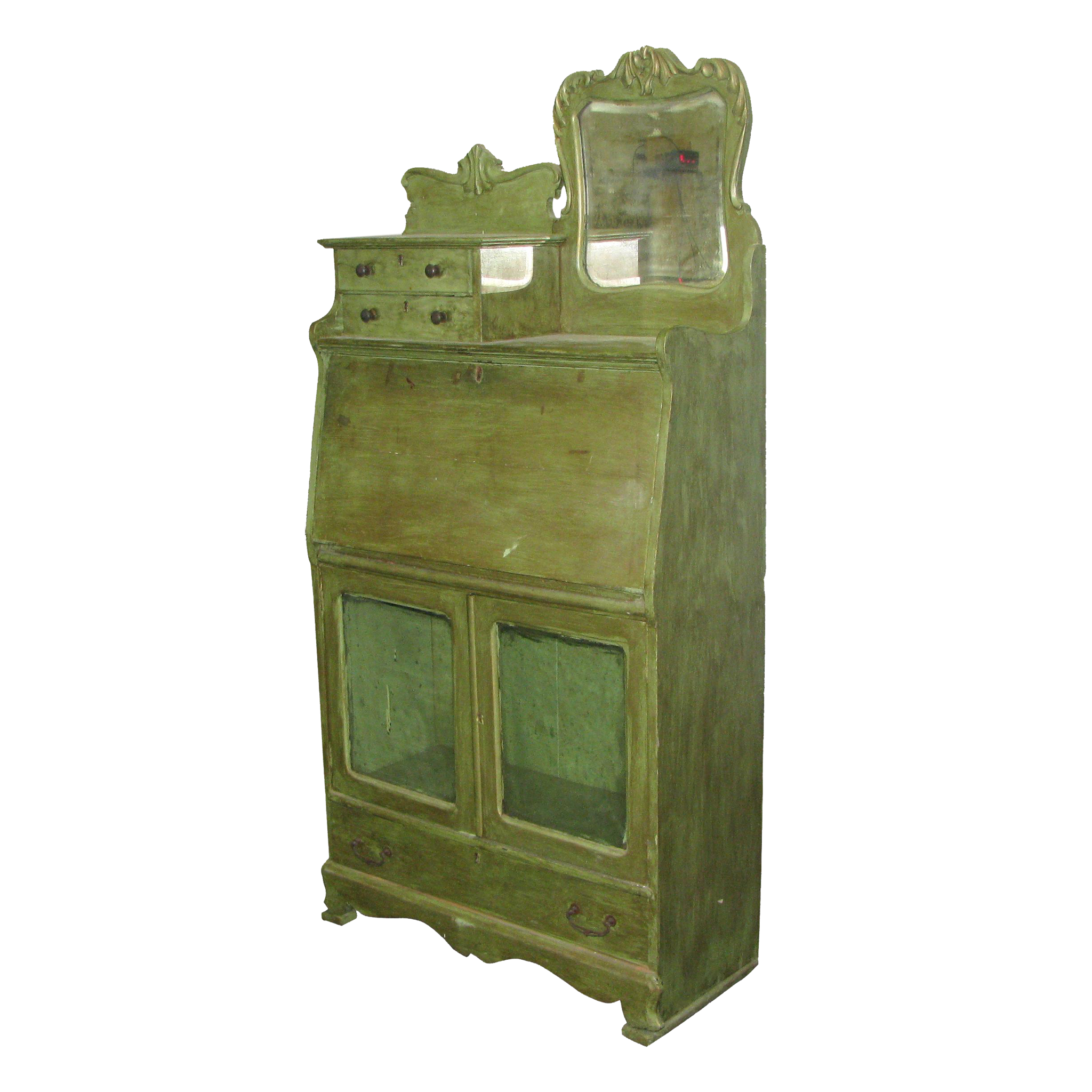 Antique green combination cabinet and desk