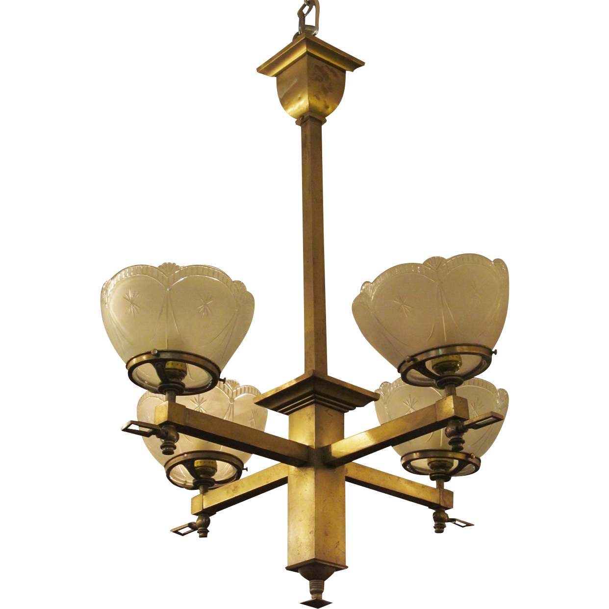 Brass chandelier with etched glass shades