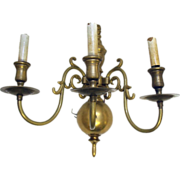 Pair of Colonial revival style brass wall sconces