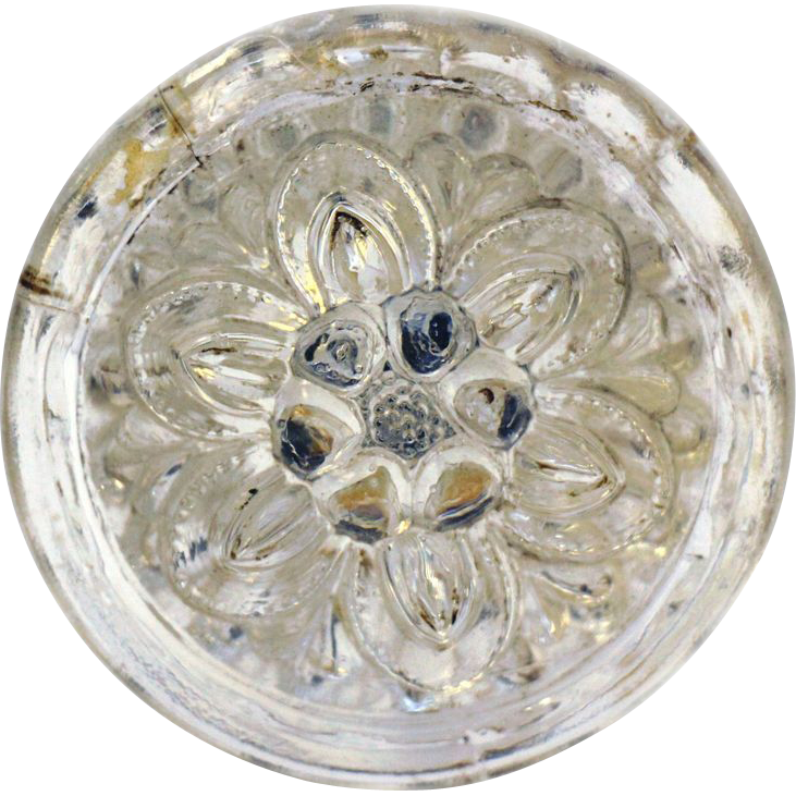 Pretty vintage glass floral drawer pull