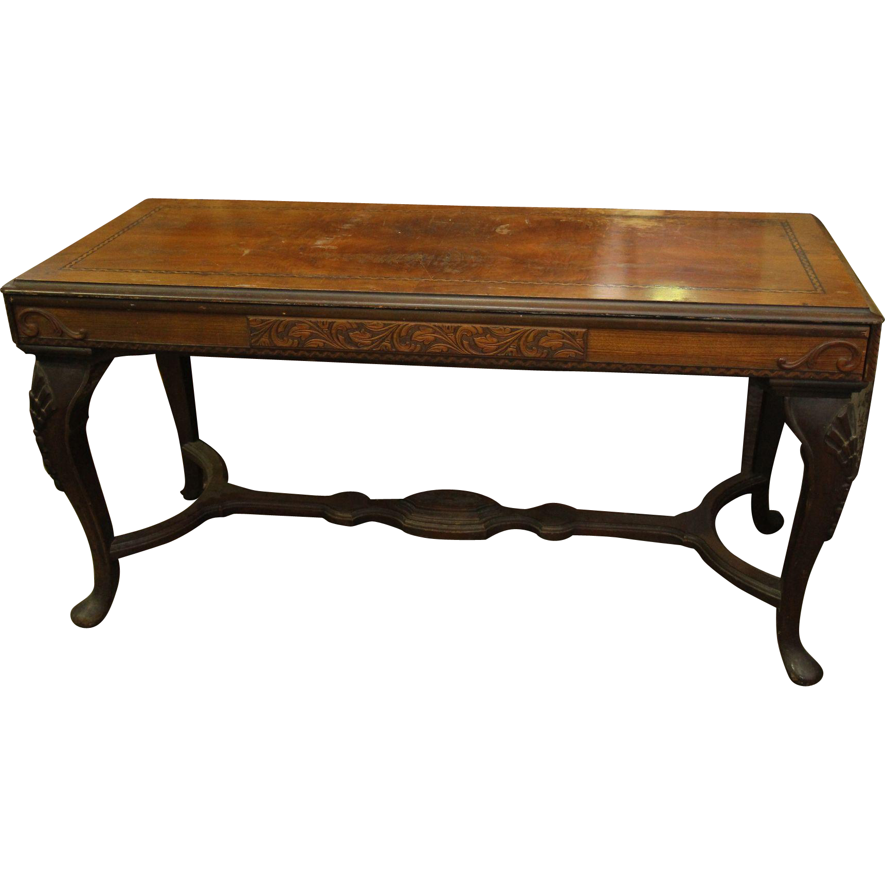 Louis XVI style walnut console table with carved details