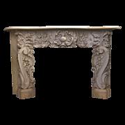 1860's Antique Rococo white statuary marble mantel