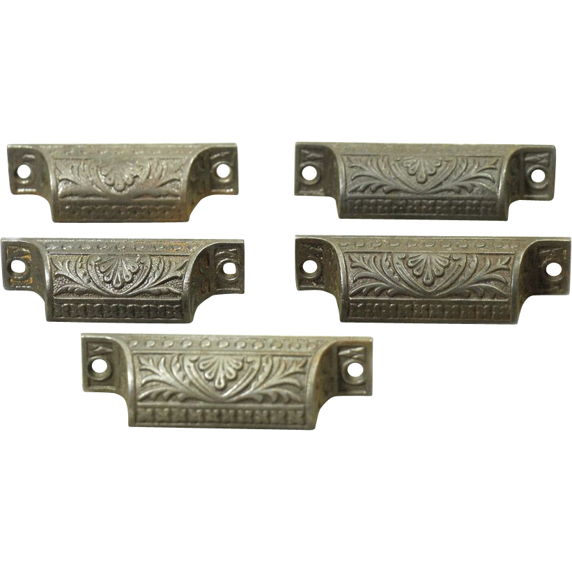 Iron Victorian ornate bin pulls