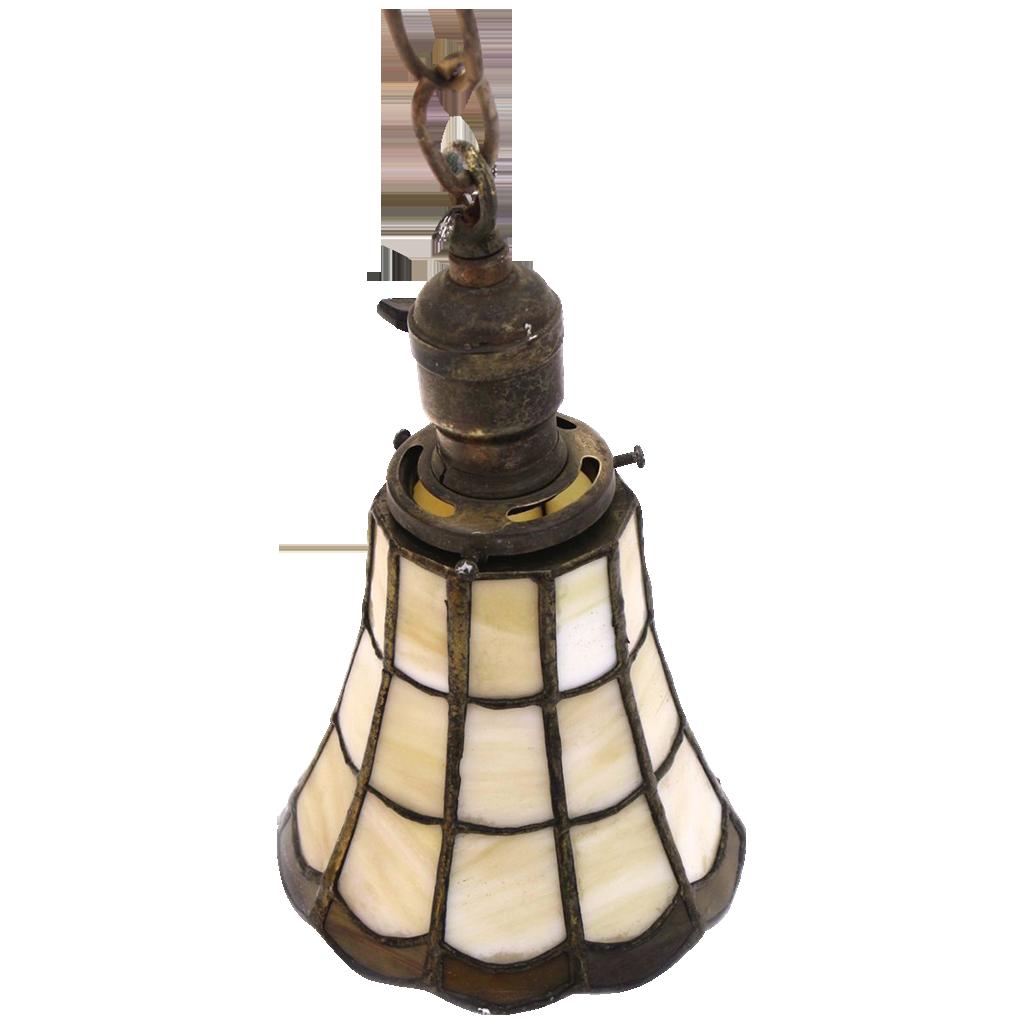 Simple opalescent glass hanging lantern light