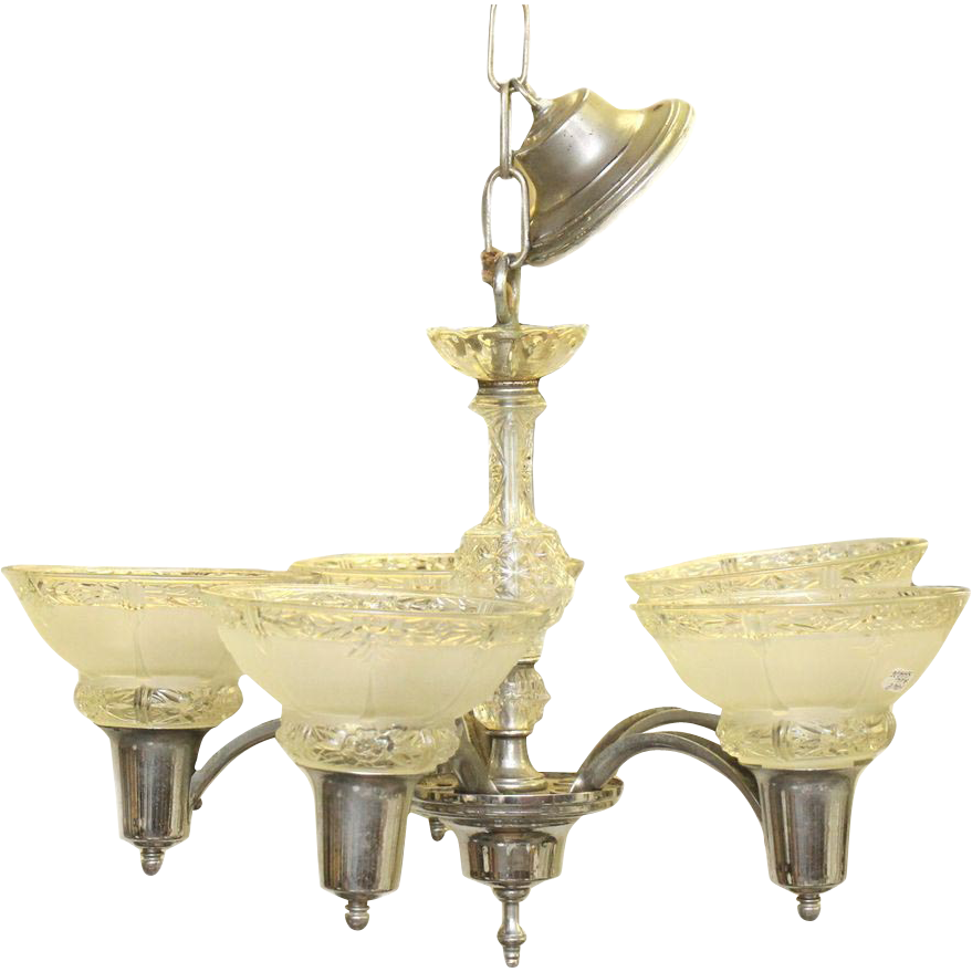 Five light vintage chandelier with glass shades