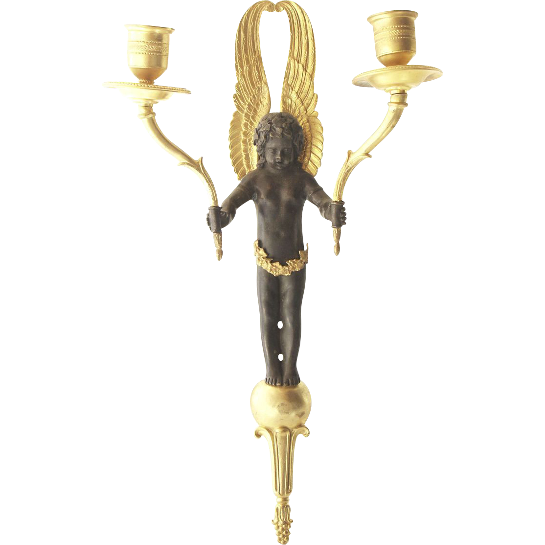 French cherubic single gold and black sconce