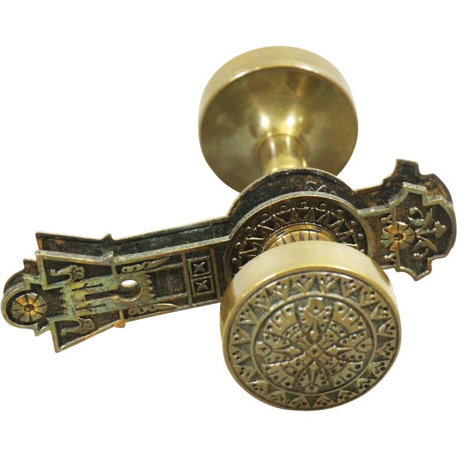 Antique Gothic bronze doorknob set
