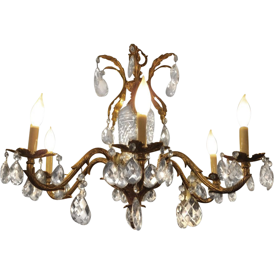 Ten light ornate brass & crystal chandelier