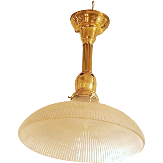 Ridged glass shade with gold hanging fixture