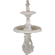 Figural poured concrete double fountain