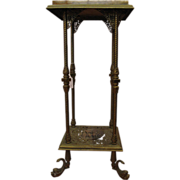 Bronze and marble pedestal stand