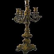 Large cast brass candelabra