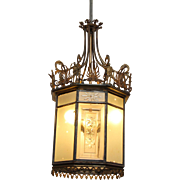 1890s Bronze & glass large hall lantern