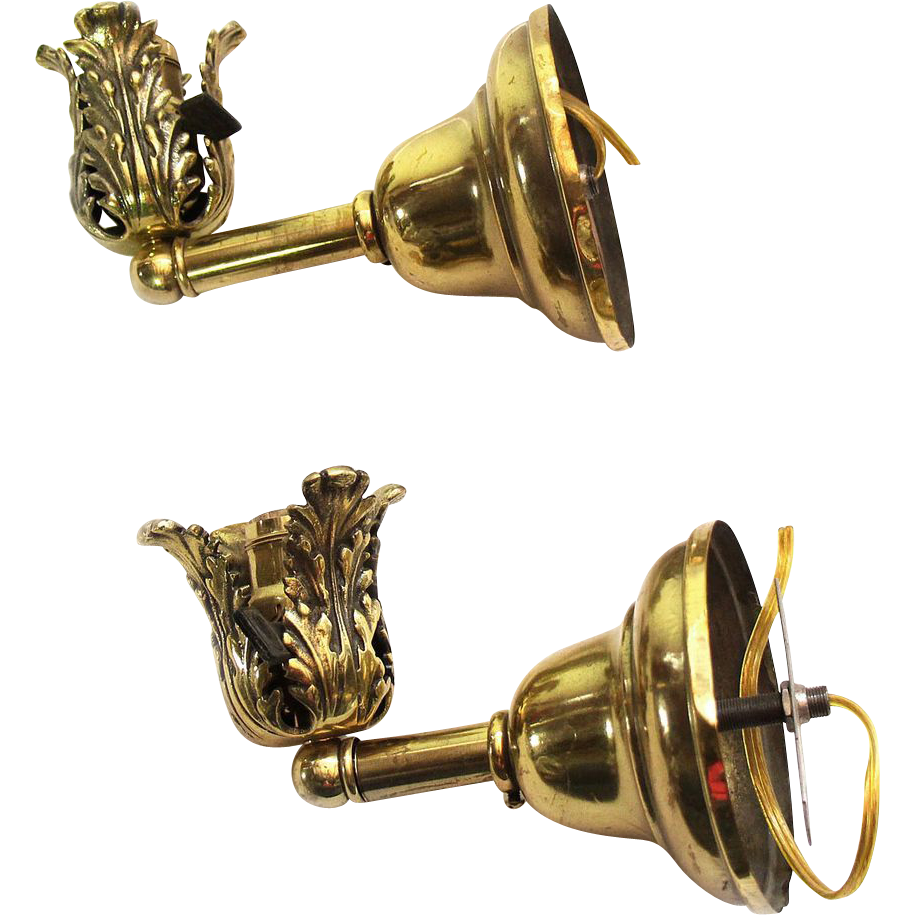 Pair of brass leaf motif sconces