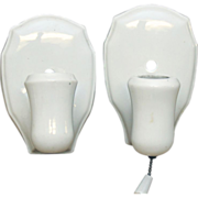 Set of three 1930's white porcelain sconces