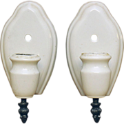 Pair of simple porcelain sconces with metal pull