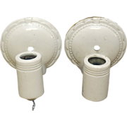Pair of vintage scalloped edge white porcelain sconces